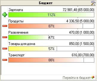 Модуль типа Бюджет в информационном окне